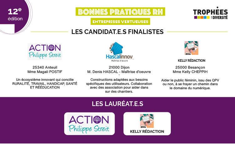 """Lauréat.e.s des Trophées de la Diversité 2020 """"Bonnes Pratiques RH"""""""